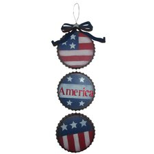 3 Bottle Cap Americana Metal Wall Decor