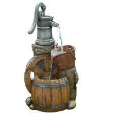 Old Fashion Polyresin Pump Barrel Fountain
