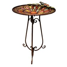 Metal Bird Bath with Bird and Leaves