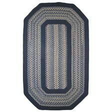 Pioneer Valley II Williamsburg with Dark Blue Solids Multi Elongated Octagon Outdoor Rug