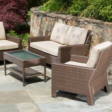 Simplicity All Weather Wicker 4 Piece Deep Seating Group with Cushions