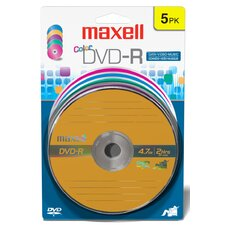 DVD-R 5 Pack Assorted Color