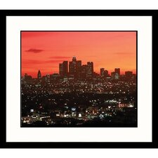 Cityscapes 'Los Angeles Skyline at Night' by Ted Wilcox Framed Photographic Print