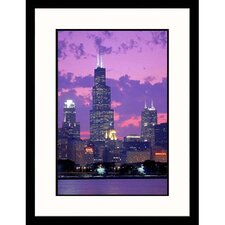 Cityscapes 'Chicago Skyline Twilight of Illinois' by David Frazier Framed Photographic Print