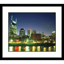 Cityscapes Nashville Skyline Reflection in Cumberland River Framed Photographic Print
