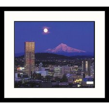 Moon Over Mt. Hood and Portland, Oregon Framed Photograph