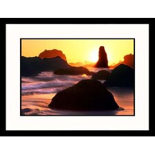 Seascapes 'Bandon Beach Sunset' by Russell Burden Framed Photographic Print