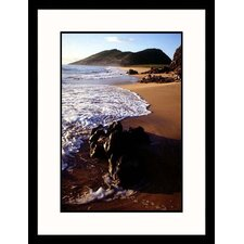 Seascapes 'Rocks on St. Kitts Beach' by Robin Hill Framed Photographic Print