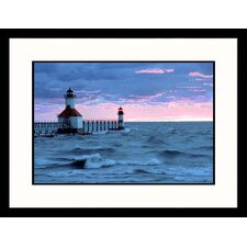 Seascapes 'Benton Harbor, Michigan Sunset' by Charles Benes Framed Photographic Print