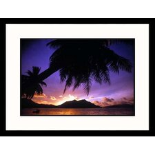 <strong>Great American Picture</strong> Tropical Beach at Sunset Framed Photograph - Mitch Diamond