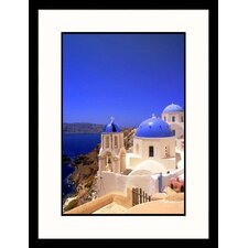 Seascapes 'Greek Church Over Ocean' by Walter Bibikow Framed Photographic Print