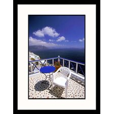 Blue Table and Chair On Balcony Framed Photograph - Walter Bibikow