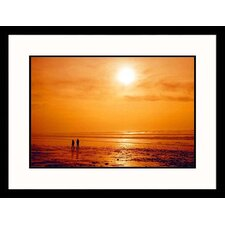 Seascapes Couple Walking During Sunset Framed Photographic Print