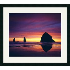 <strong>Great American Picture</strong> Haystack Rock at Sunset Framed Photograph - Adam Jones