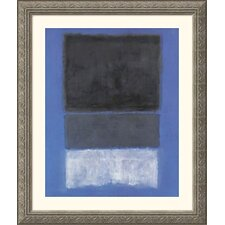 <strong>Great American Picture</strong> No.14, 1957 (White and Greens in Blue) Silver Framed Print -  Mark Rothko
