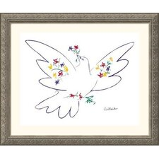 <strong>Great American Picture</strong> Dove of Peace - Blue Silver Framed Print - Pablo Picasso