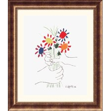 Hand with Bouquet Bronze Framed Print - Pablo Picasso