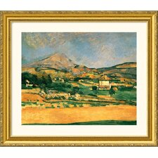 A View Over Mont St. Victoire Gold Framed Print - Paul Cezanne