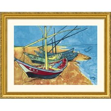 Boats Gold Framed Print - Vincent van Gogh