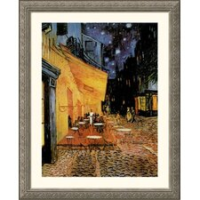 Museum Reproductions Cafe Terrace At Night by Vincent Van Gogh Framed Painting Print