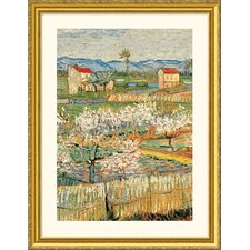 Pechers En Fleurs (Peach trees) Gold Framed Print - Vincent van Gogh