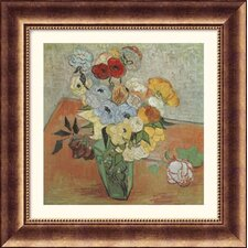 Roses and Anemones Bronze Framed Print - Vincent van Gogh