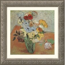 Museum Reproductions Roses and Anemones by Vincent Van Gogh Framed Painting Print
