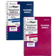 Large Print Telephone & Address Book Assorted Colors