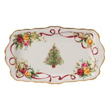 "Old Country Roses Christmas Tree 7.1"" Rectangular Sandwich Tray"
