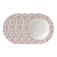 Rose Confetti Casual Rimmed Soup and Salad Bowl (Set of 4)