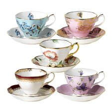 100 Years Teacups and Saucers (Set of 10)