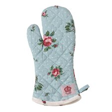 Polka Blue Cotton Oven Mitt