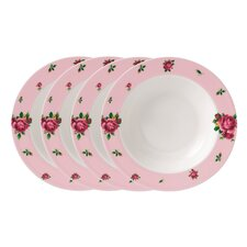 New Country Roses Casual Rimmed Soup and Salad Bowl (Set of 4)