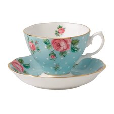 Polka Blue Formal Vintage Teacup and Saucer (Set of 2)