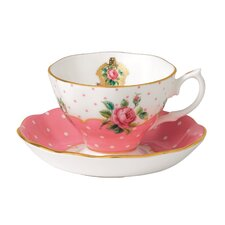 New Country Roses Vintage Teacup and Saucer (Set of 2)