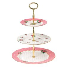 New Country Roses Cheeky Pink Vintage 3-Tier Cake Stand