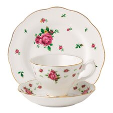 New Country Roses White Teacup Set (Set of 3)