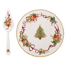 Old Country Roses Christmas Tree Low Cake Plate and Server