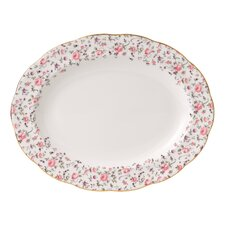 "Rose Confetti Formal Vintage 11"" Oval Platter"