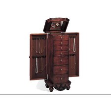Cherry Warden Jewelry Armoire with Mirror