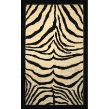 Zebra Print Border Ivory/Black Area Rug