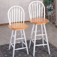 "Ashland 29"" Arrow Back Windsor Stool in Natural/White"
