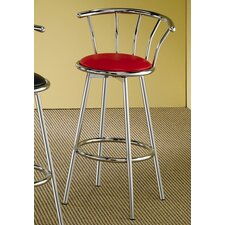 "Blachy 29"" Bar Stool with Back in Chrome and Red Seat"