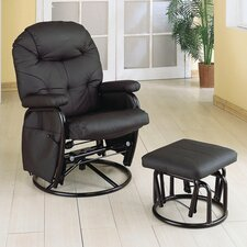 Glenada Leatherette Recliner and Ottoman