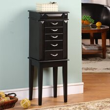 Grandport Five Drawer Jewelry Armoire in Black