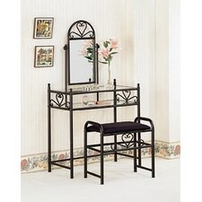 Bullhead City Heart Shape Vanity Set with Stool in Black