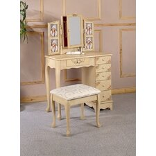 Woodway Hand Painted Vanity Set with Stool in Ivory