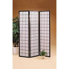 Olympia Three Panel Folding Screen in Wood with Black Frame
