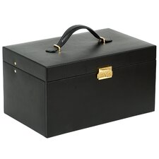 Large Jewelry Case with Six Drawers, One Small and One Large Travel Case in Black