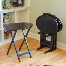 Bay Shorre Piece Oval Tray Table Set with Stand (Set of 4)